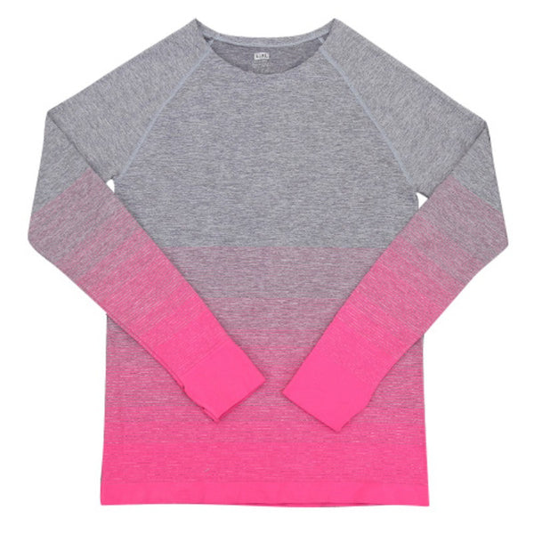 2017 new winter sport Women gradient color long sleeve shirt elastic lady Yoga T-shirt