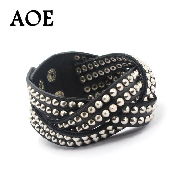 2017 New Wrap Leather Bracelets With Alloy Buckle Fashion Punk Rock Rivet Multilayer Bangle For Women Men Gift Cool Jewelry