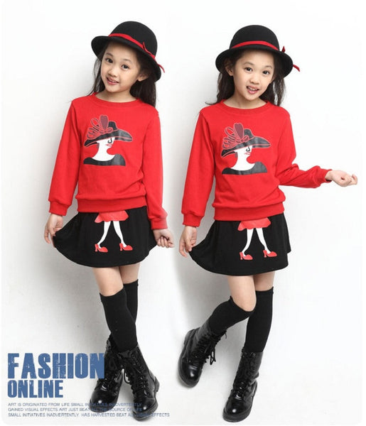 2017 Spring Tsaujia Brand Big Girls Clothing Set 2pcs Long Sleeve Sweater+ Skirt Suits Kids Cotton Clothes Set 3-11 Years KF067
