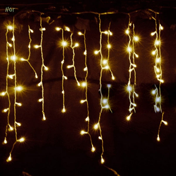 220V 3.5m Droop 0.3-0.5m EU Plug Curtain Christmas Icicles String Lights New Year Christmas Lights Xmas Wedding Luces De Navidad