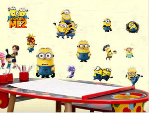 24*40cm Cartoon Minions Wall Stickers for Kids Room Baby Despicable Me Wall Decal Home Decoration Wall Paper Art Stuart Mark