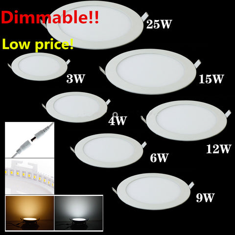 25 Watt Round LED Ceiling Light Recessed Kitchen Bathroom Lamp AC85-265V LED Down light Warm White Cool White Free shipping