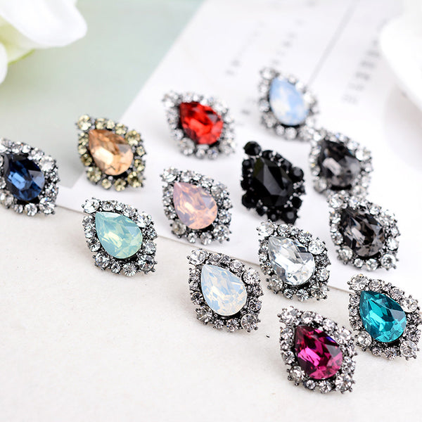 27th Romantic Zinc Alloy Rhinestone Stud Earrings Women
