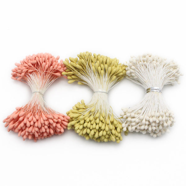 288pcs 3mm Matte White Double heads diy flower stamen Cake decoration handmade 11060301(288)