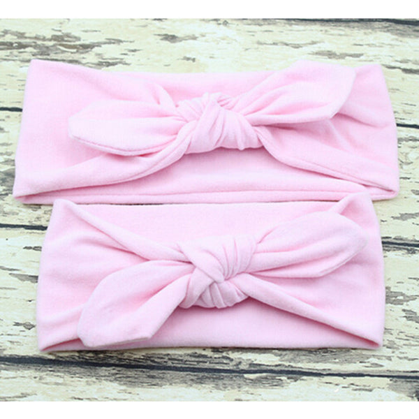 2PCS Set Mom and Me Headband Bows Bunny Ears Headbands Baby Hair Accessories Headwear Turban Baby and Mommy Cotton Headwrap