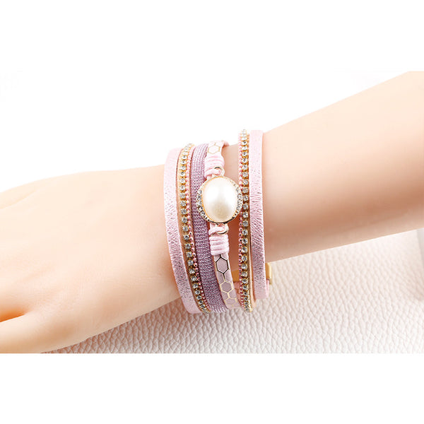 2016 New bangle charm winter Imitation pearls bracelet women jewelry Multilayer Leather Bracelets Men&Women Bracelet wholesale