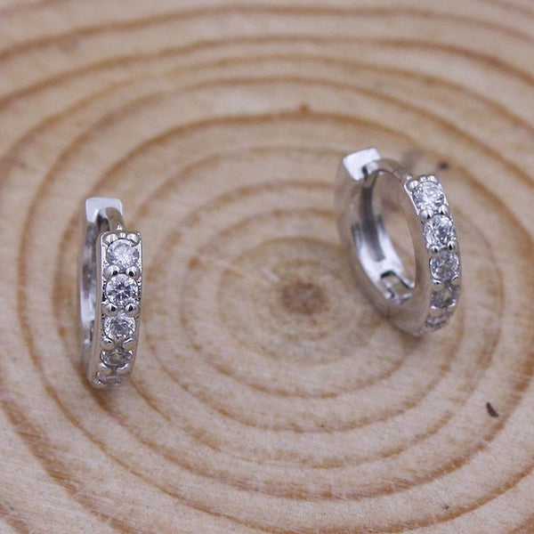 2016 Fashion silver plated zircon huggies hoop earrings for women 3a cz diamond small round earring party jewelry wholesale