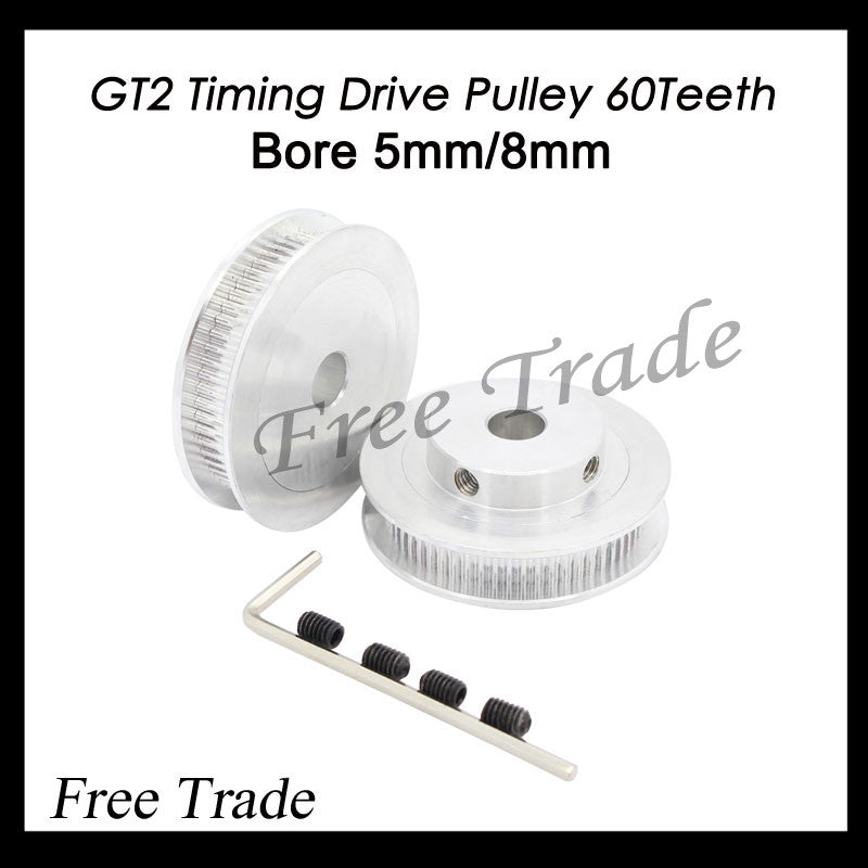 2GT- 6mm belt pulley GT2 Timing Pulley GT2 Pulley 60 Teeth Bore 5mm 8mm for 6mm Belt Prusa Mendel