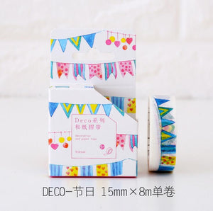 2J111 1.5cm Wide Colorful Party Deco Flags Decorative Washi Tape DIY Scrapbooking Masking Tape School Office Supply