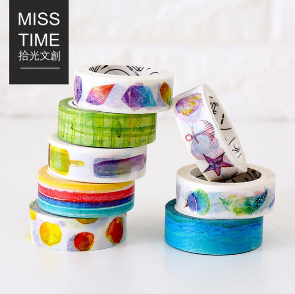 2J207 1.5cm Wide The Wide Blue Ocean Decorative Washi Tape DIY Scrapbooking Masking Tape School Office Supply Escolar Papelaria