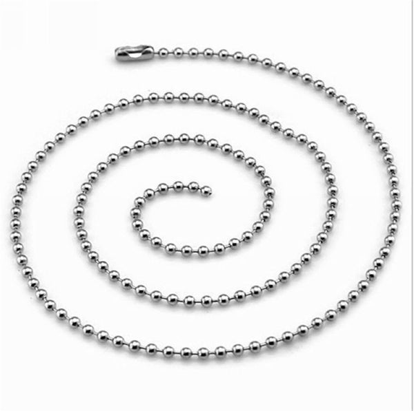 2mm Silver Tone Stainless Steel Ball Bead Chain For Necklace Bracelet Women Bag Handbag Keychain Dog Tag Custom DIY Jewelry