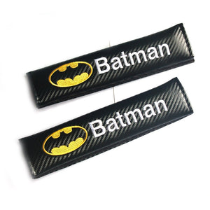 2pcs Batman Carbon Fiber Car Seat Belt Shoulders Pad Truck Cover