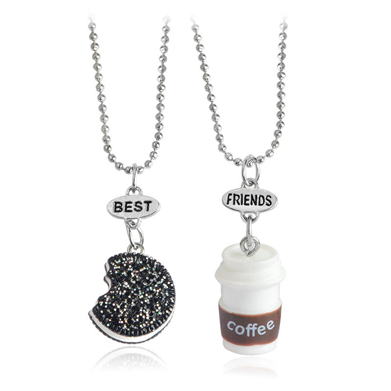 2pcs Best Friends Emulational Chocolate milk biscuits Coffee Pendant Necklaces BFF Friendship Creative Jewelry Christmas Gift