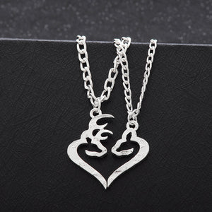 2pcs Deer Hunting Buck & Doe Necklace Kissing Broken Half Coin Set Friendship BFF Creative Necklace Lover Couples Christmas Gift