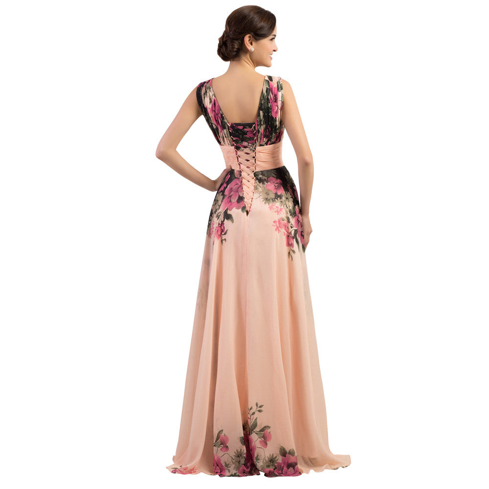 a8aa66579cfa8 ... 3 Designs Evening Dresses Stock One Shoulder Flower Pattern Floral  Print Chiffon Evening Dress Gown Party ...