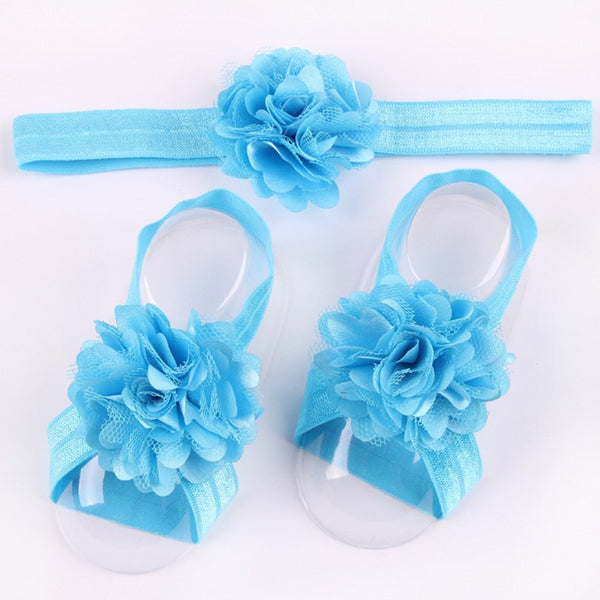 3 Pcs lot Girls Cute Foot Flower Barefoot Sandals+Headband Baby Set Elastic Hairbands Infant Kids Headbands 17 colors