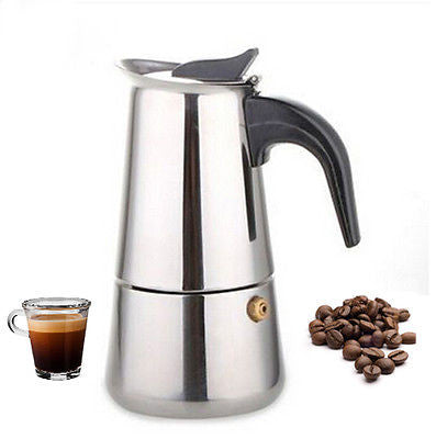 300 ML Stainless Steel Moka Express 6-Cup Coffee Maker Stovetop Espresso Pot
