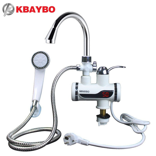 3000W Water Heater Bathroom Kitchen instant electric water heater tap LCD temperature display Tankless faucet A-088