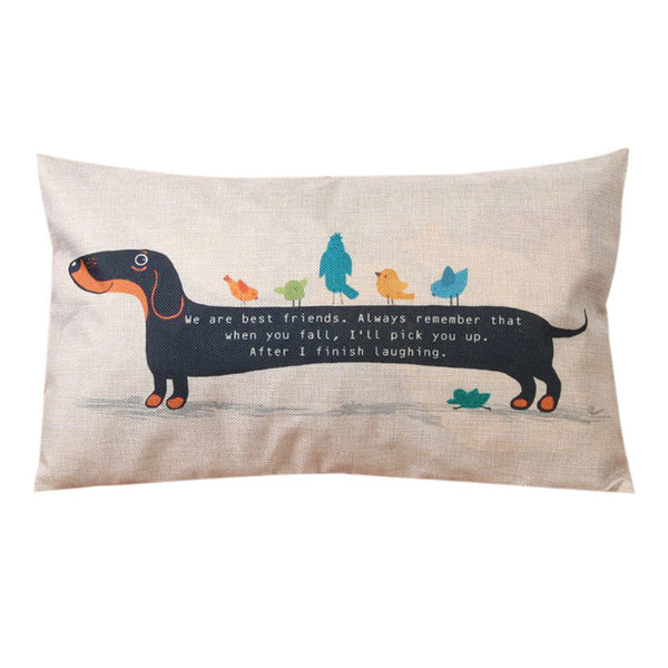 30X50cm Dachshund Dog Cushion Cover Sausage Dog Puppy Pillow Case Pillow Cover Dog Cushion Covers Sofa Thick Cotton Linen Pillow