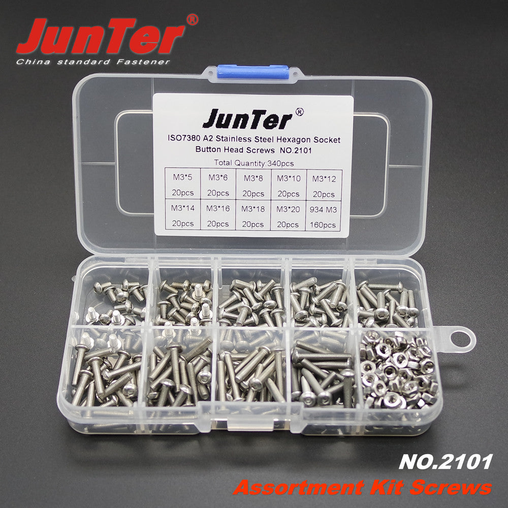 340pcs M3 (3mm) A2 Stainless Steel ISO7380 Button Head Allen Bolts Hexagon Socket Screws With Hex Nuts Assortment Kit NO.2101