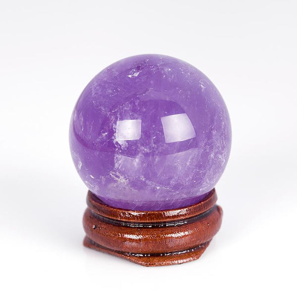 35mm Amethyst Citrine Fluorite Sphere wood stand Bell Chakra Healing Reiki Natural Stone Carved Crafts Free pouch