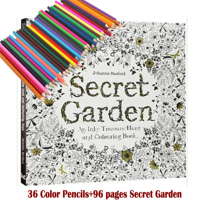 36 Color Pencils 96 Pages English Secret Garden Coloring Books For Adult Hand Drawn Relieve Stress Graffiti Painting Libros