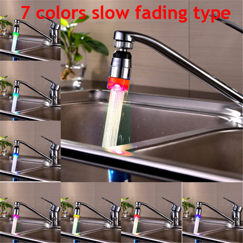 360°Water Tap Glow Shower LED Faucet Temperature Sensor RGB 3 Color Change Light