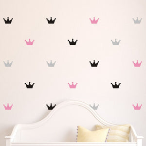 36pcs set Kid's Bedroom Decorate Wall Decals Princess Baby Room Wall Decor Crown Pattern Vinyl Wall Sticker For Kids