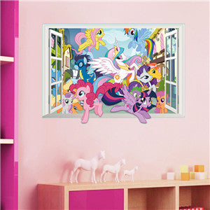 * 3D Cartoon My Little Pony Gift Window Wall Stickers Decal Poster Kids Nursery Bedroom Home Decor Vinyl Removeable Wallpaper