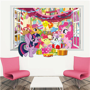 ... 3D Cartoon My Little Pony Gift Window Wall Stickers Decal Poster Kids  Nursery Bedroom Home ...