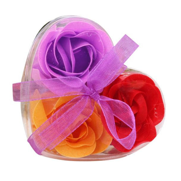 3Pcs Scented Rose Flower Petal Bath Body Soap Wedding Party Gift Flor de jabon Hot New Free Shipping Oct12