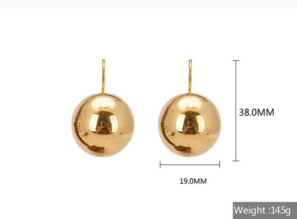 2016 New Fashion Big Exaggerated Shiny Silver Plated Big Round Ball Pendant Statement Dangle Earrings Bijoux for Women Brincos