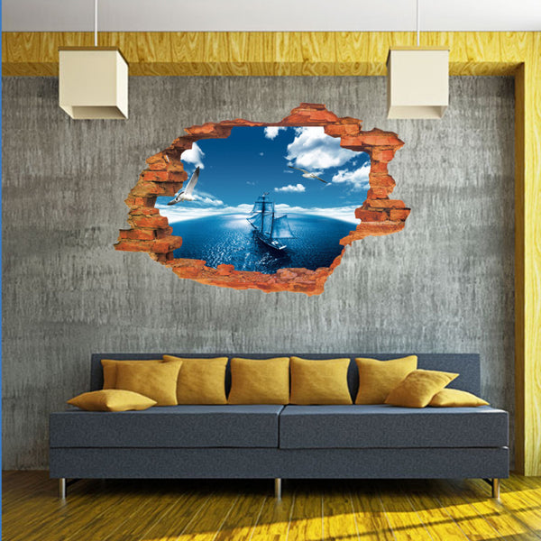 3D 50x70cm Sea Sight Cartoon Wall Stickers Mural Decal Quotes Art Home Decor Happy Gifts DIY Pegatina De Pared Mural Home Decor