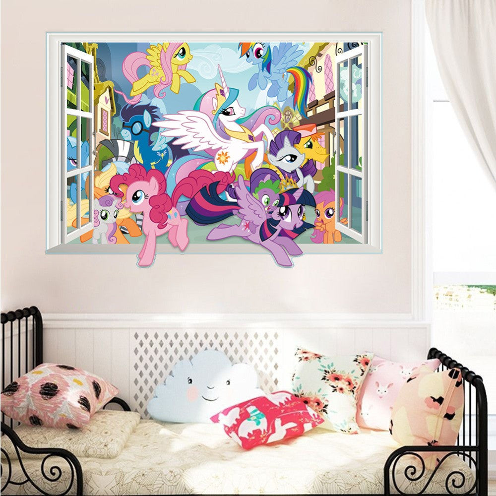 3D Cartoon My Little Pony Gift Window Wall Stickers Decal Poster ...