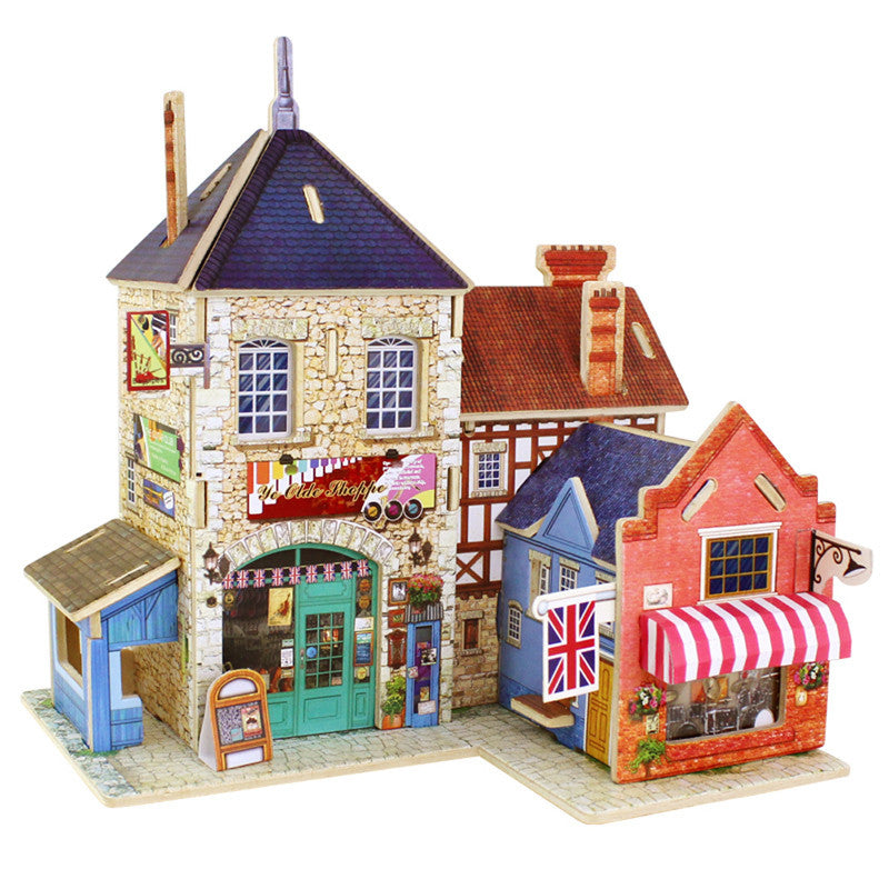 3D Jigsaw Puzzle Wooden Toys Children's Educational DIY Wooden Assembling Chalets Castle Model Jigsaw Puzzle Educational Toys