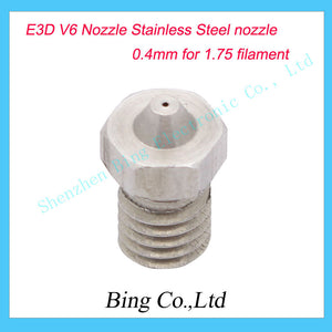 3D printer V6 Extra Nozzle Stainless Steel Nozzle 0.4mm for 1.75 filament V6 Stainless Steel Nozzles Freeshipping