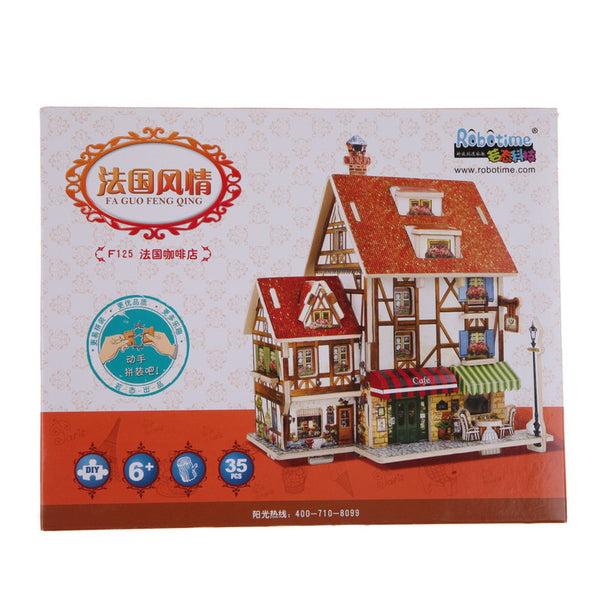 3D Wood Puzzle DIY Model Kids Toy France French Style Coffee House Puzzle puzzle 3d building wooden puzzles E5M1