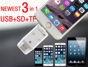 3in1 USB Micro SD TF SDHC Card Writer Reader for iPhone 6 6S Plus 5 5S iPad 7 6 5 MiNi 2 3 Air Pro SAMSUNG HTC LG All OTG Phones
