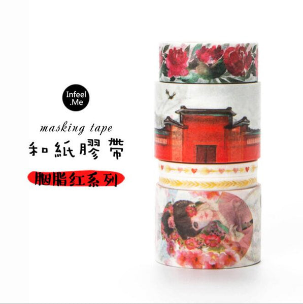 3J206-210 The Rose Red Young Girl Washi Tape DIY Scrapbooking Masking Tape School Office Supply