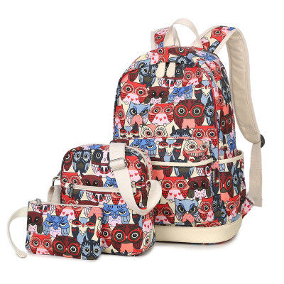 Winner Flowers Animal Prints Canvas Backpacks Women Owl8810