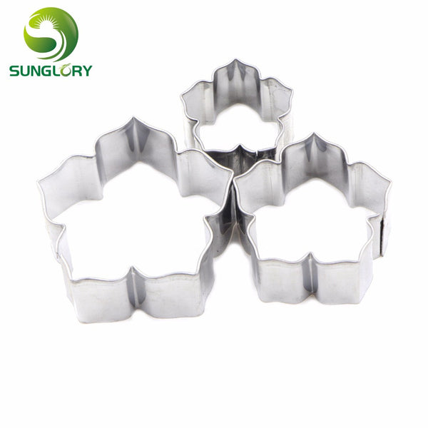 3PCS Stainless Steel Petunia Flower Cutters Set Metal Petal Cookie Cutter Baking Gum Paste Mold Fondant Cake Decorating Tools