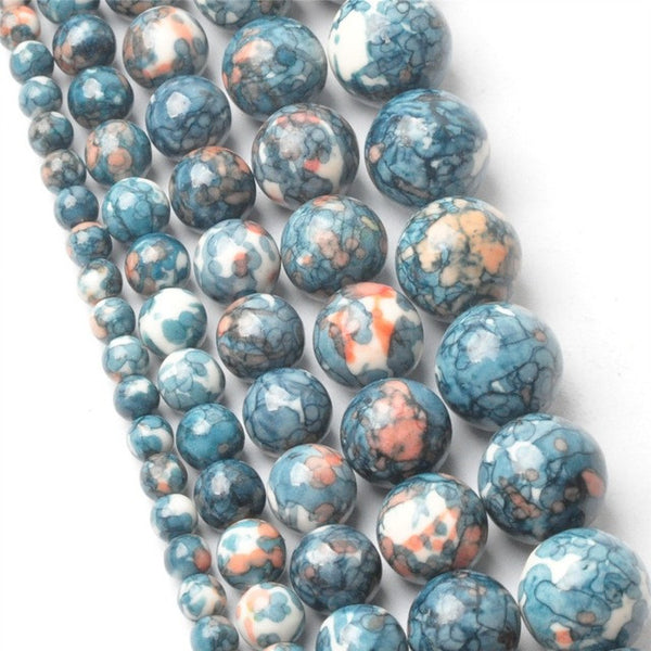 4-12MM Natural Dark Blue Rainbow Stones Round Spacer Loose Beads For Necklace Bracelet Charms Handmade Jewelry Making