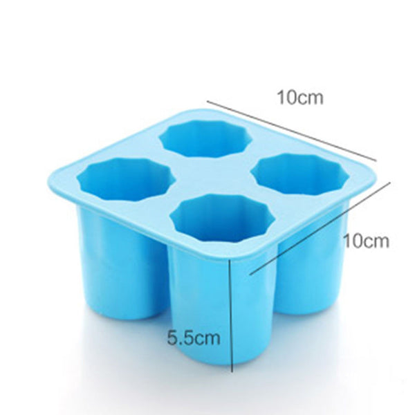 4-Cup Ice Cube Shot Shape Silicion Shooters Glass Freeze Molds Maker Tray Party