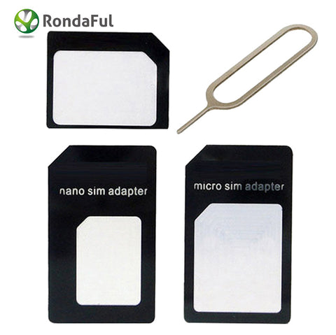 4 in 1 Set Nano SIM Card Micro SIM Card to Standard Adapter Adaptor Converter Set for iPhone 6 6s 5 4S with Eject Pin Key