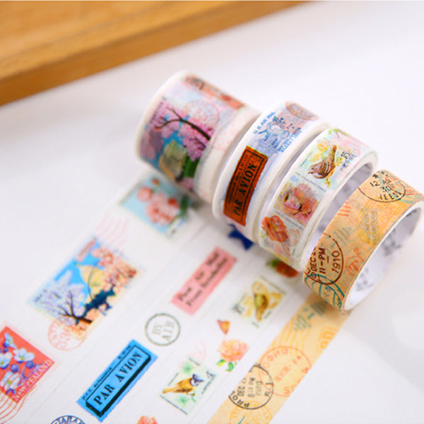 4 pcs set Vintage Stamp washi tape DIY decorative scrapbook masking tape office adhesive tape stationery school supplies