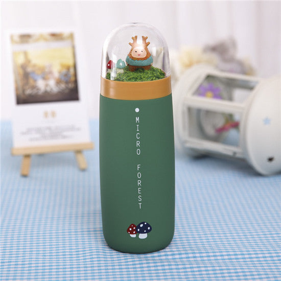 450ml 2016 student Back To School Cartoon Stainless Steel Mug micro Warm Forest Cup Couple Lovely Water Bottle 4 colors HJ10
