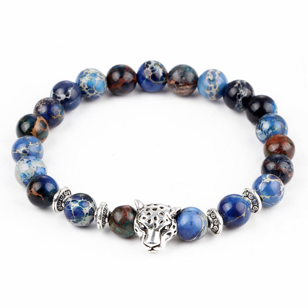 17KM Silver and Gold Plated DIY Bracelet Matte Onyx Natural Stone Lion Head Bracelets Charm Beads Yoga Bracelets for Women Man