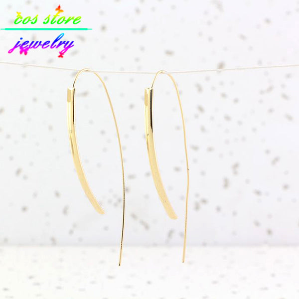 2015 New Arrival Brief Style Gold Silver Plated Long Bar Hoop Earrings For Women Minimalist Earrings Back Earring CE172