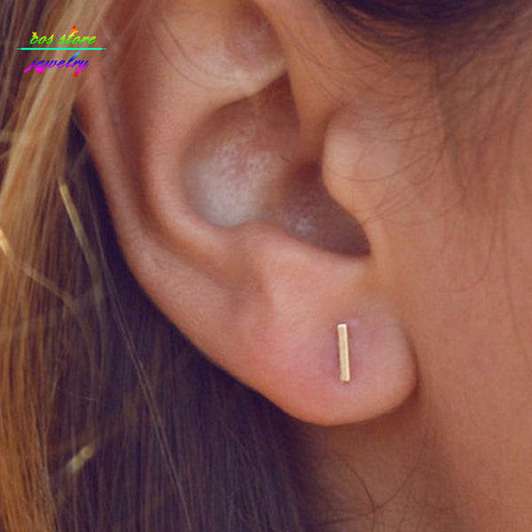 6 Sizes Minimalist Brief Gold Silver Black Plated Bar Stud Earrings For Women Femme Bijoux
