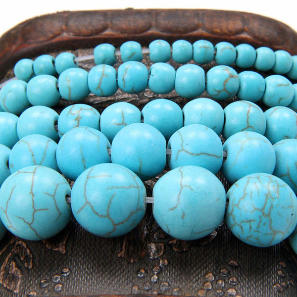 4MM 6MM 8MM 10MM 12MM Bulk Natural Green Turquoise Stones Round Spacer Loose Beads For Necklace Bracelet Charms Jewelry Making